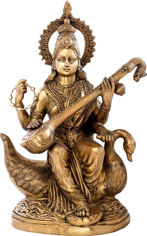 Large Size Goddess Saraswati Plays Veena on Her Swan