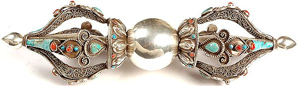 Five Pronged Ritual Dorje with Coral, Turquoise and Filigree work