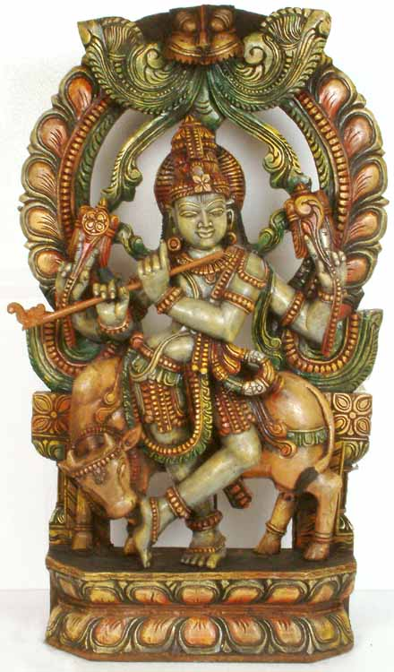 Fluting Krishna with Cow