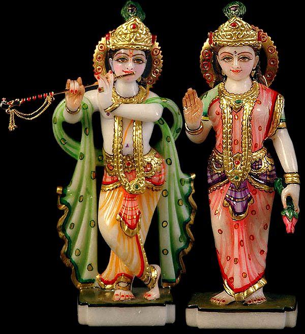Fluting Krishna with His Beloved Radha