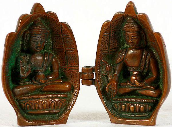 Tibetan Buddhist Folded Hands Portable Temple of Medicine Buddha and Preaching Buddha