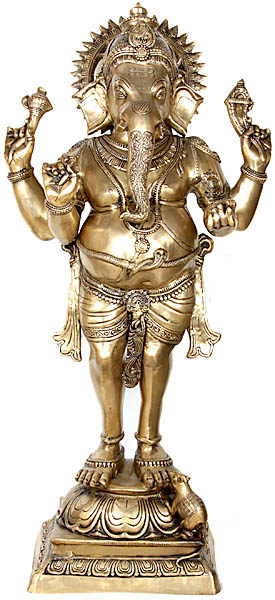 Four Armed Standing Ganesha with Short Dhoti (Large Size)