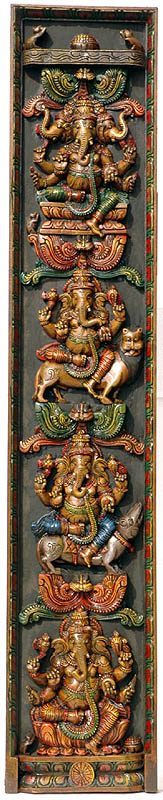 Four Ganesha Panel with Three Headed Ganesha, Seated on Different Seats -  on Lotus, Lion, Rat and Lotus