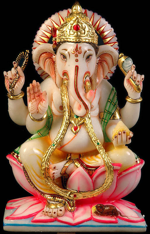 Four-armed Blessing Ganesha  with Noose, Conch and Laddoo