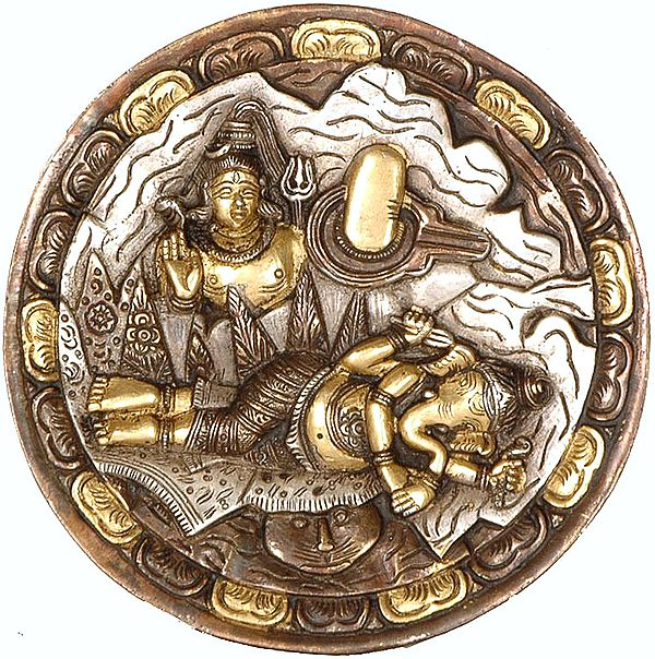Ganesha Dreams About His Father Shiva (Wall Hanging Plate)