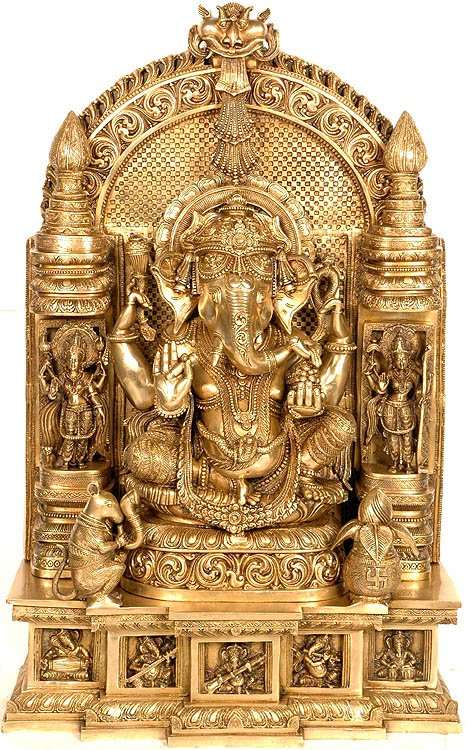 Ganesha Seated in Royal Ease Posture Flanked by Lakshmi and Saraswati<br>With Pedestal Depicting Aspects of Ganesha as Musician