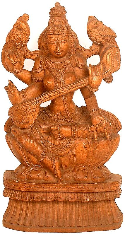 Goddess Sarasvati Playing Vina with Two Parrots Perched on Her Shoulders