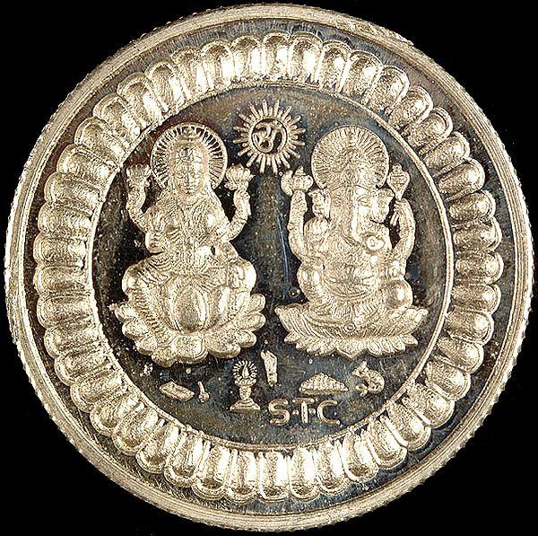 High Purity Lakshmi Ganesha Silver Ritual Coin