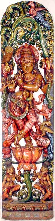 Krishna with Rukmani and Satyabhama