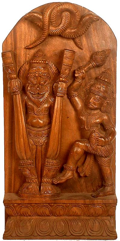 Lord Narasimha Emerges from a Split Pillar