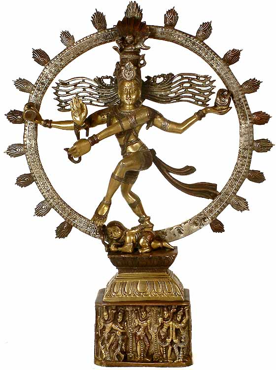 Nataraja: The Cosmic Dancer (Pedestal Engraved with Aspects of Shiva)