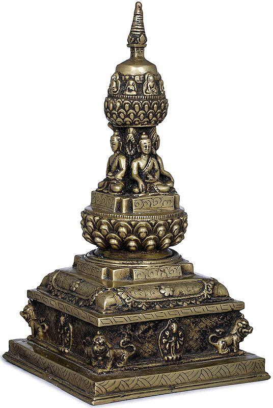 Votive Stupa with Cosmic Buddhas - Made in Nepal