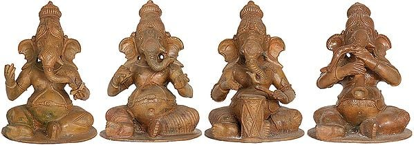 Set of Three Musical and One Singing Ganesha