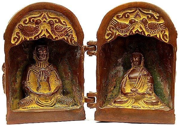 Tibetan Buddhist Folding Temple of Buddha (Back Side Engraved with Scenes from Life of Shakyamuni)