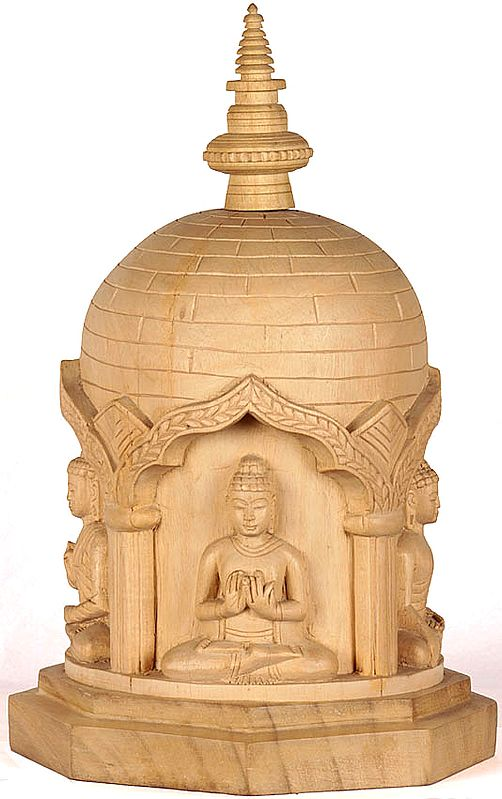 Carved Votive Stupa with Cosmic Buddhas
