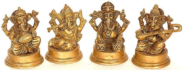Set of Four Small Musical Ganesha Sculptures