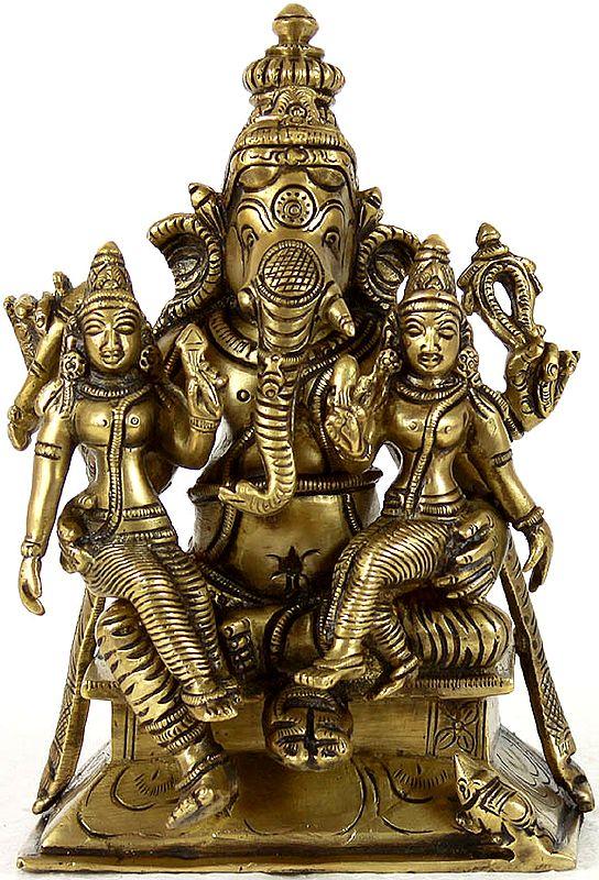 Shri Ganesha with Buddhi and Siddhi