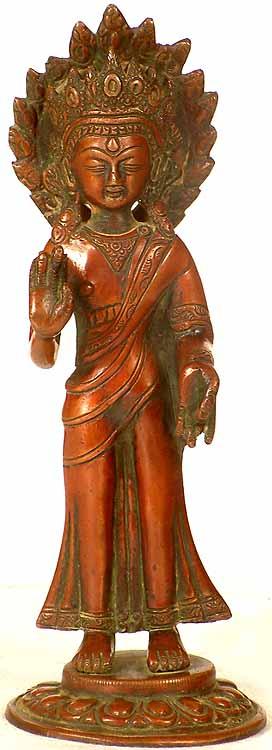 Standing Crowned Buddha in Abhaya Mudra