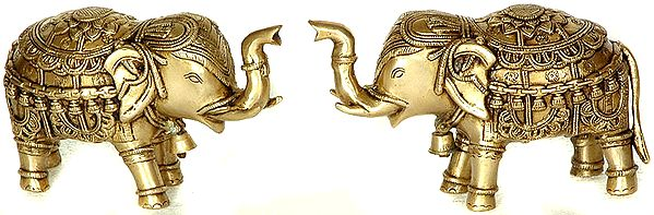 Temple Elephant Pair with Bells and Upraised Trunks (Supremely Auspicious According to Vastu)