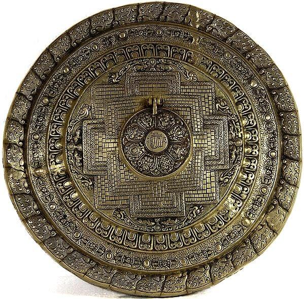 The Ten Syllables of the Kalachakra Mantra Mandala Tibetan Buddhist Wall Hanging Plate with Ashtamangala  (Vishva Vajra Inside the Mantra)
