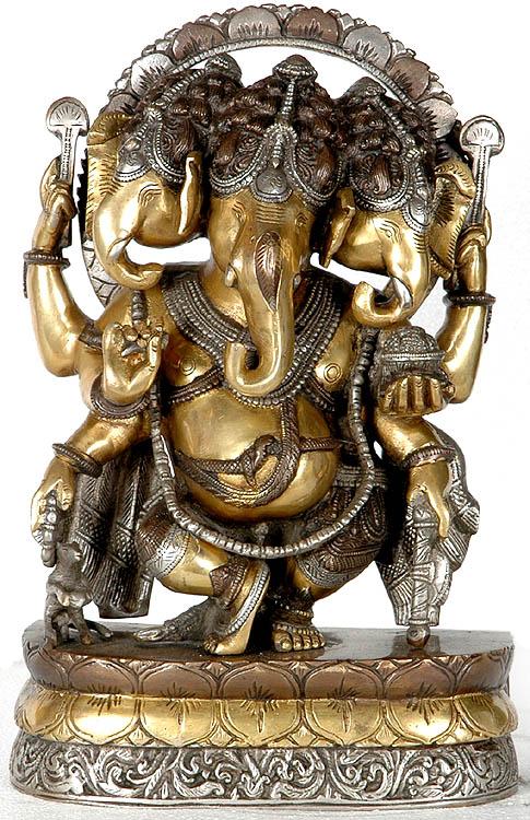 Three Headed Dancing Ganesha