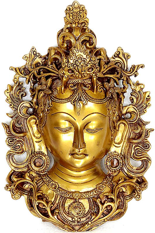 Devi Tara Wall-Hanging Mask Framed By Vines