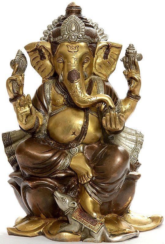 Kamalasana Ganesha with Om (AUM) and Trident Mark on Forehead