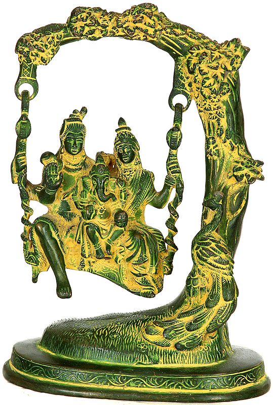 Lord Shiva Swings with Parvati and Ganesha