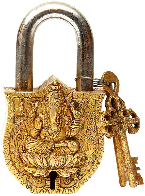 Lord Ganesha Lock with Vajra Key and Om (AUM) on Rear Side