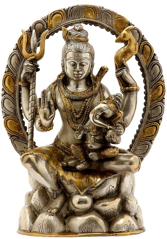 Lord Shiva Seated on Mount Kailash with Baby Ganesha