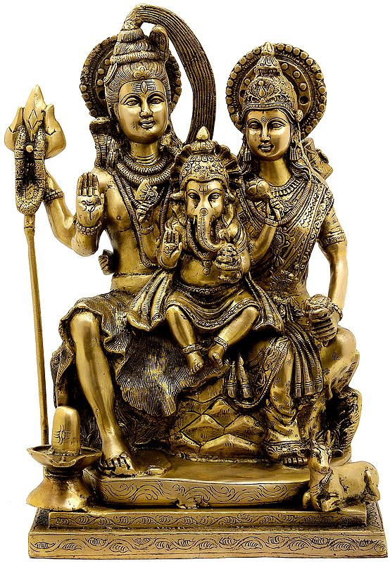 Baby Ganesha in the Lap of Parent Shiva and Parvati