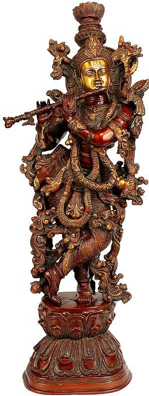 Large Size Enrapt Krishna Playing on Flute