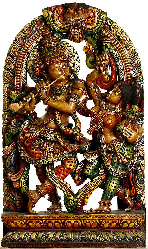 Krishna Absorbed in Playing on his Flute: Dancing Radha Accompanies