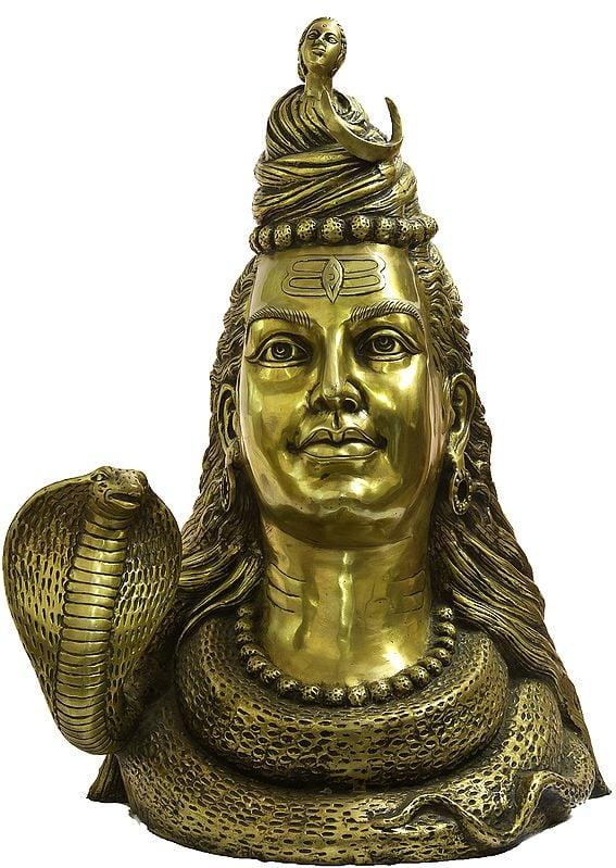 Large Size Shiva's Bust Representing Him as Gangadhara