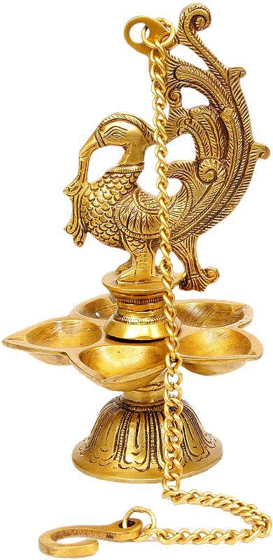 Temple Hanging: Mayura Lamp