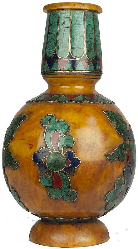 Tibetan Buddhist Amber Dust Vase with Inlay Flowers