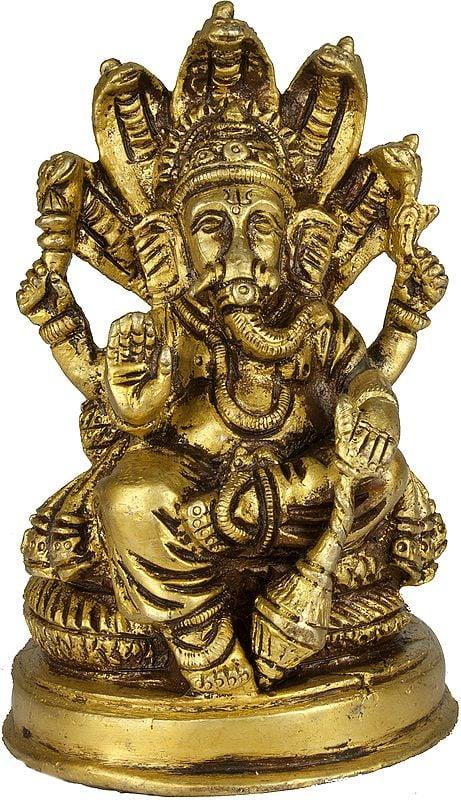 Lord Ganesha Seated on Sheshnaga