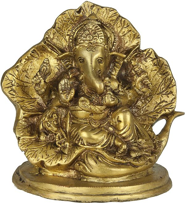 Lord Ganesha Seated on a Flower Couch