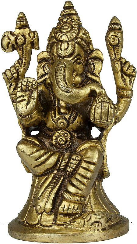 Four Armed Seated Ganesha (Small Sculpture)
