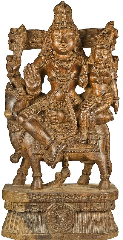 Large Size Shiva Parvati Seated on Nandi
