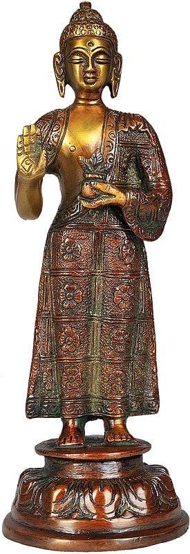 Tibetan Buddhist Standing Medicine Buddha with the Bowl of Medicinal Herbs