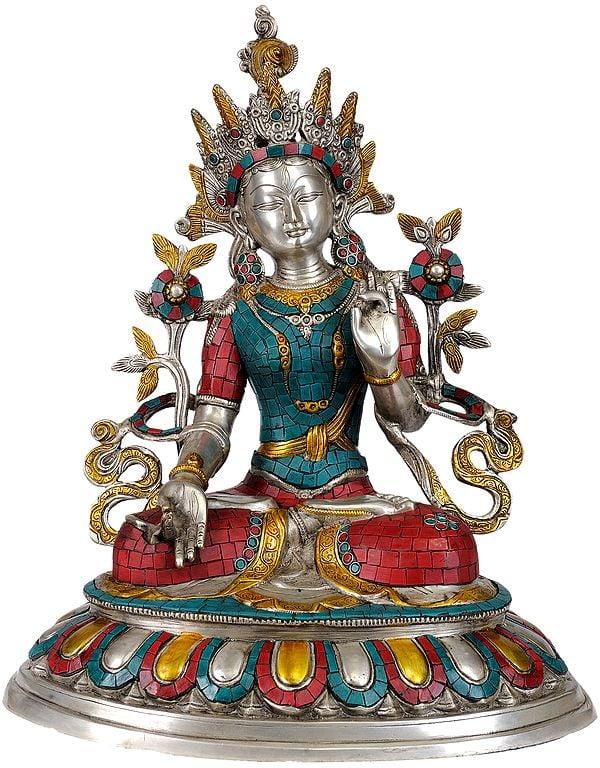 Tibetan Buddhist Deity- Goddess White Tara (In Silver Hue with Fine Inlay work)