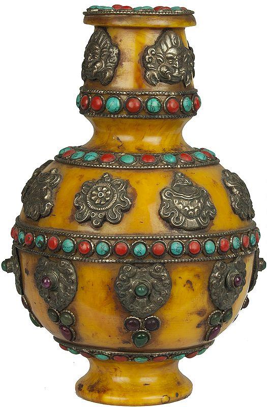 Tibetan Buddhist Ashtamangala Amber Dust Vase