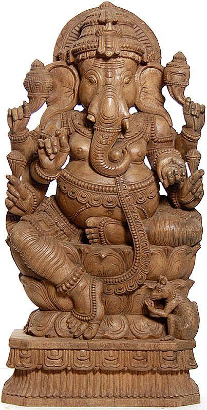 Lord Ganesha Seated in Lalitasana on Triple-Petals Lotus