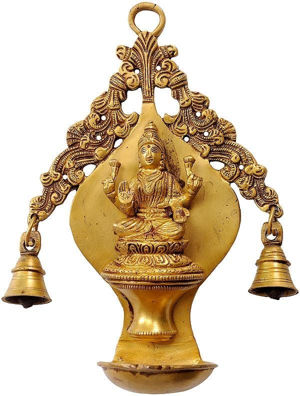 Goddess Lakshmi  Wall Hanging Lamp with Twin Bells