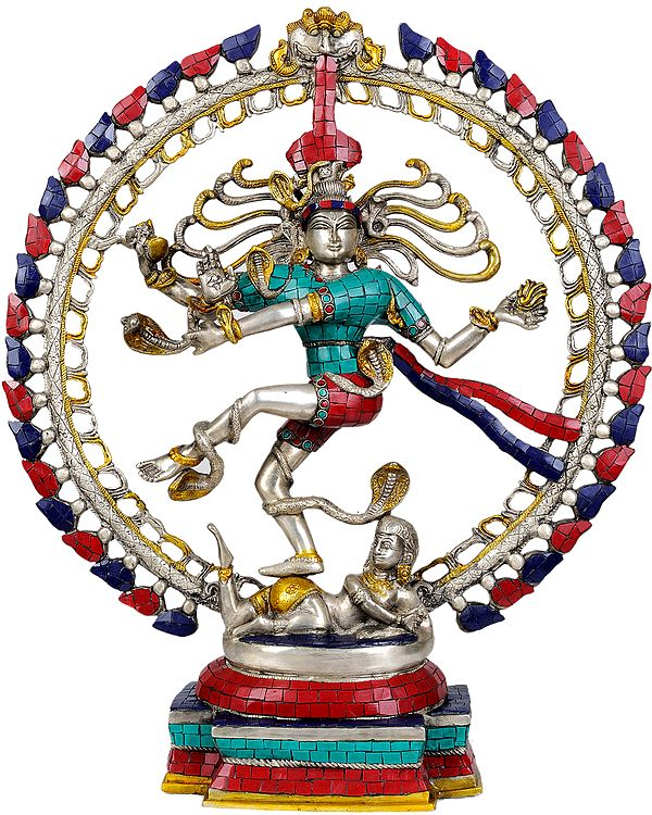 Nataraja in Silver and Golden Hues (with Inlay Work)