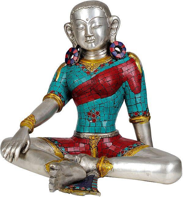 Goddess Green Tara (Tibetan Buddhist with Inlay Work)