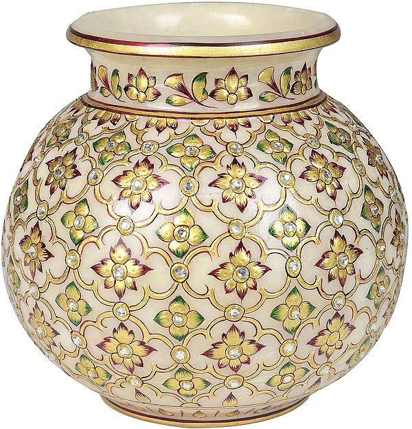 Ghata (Pot) Decorated with Floral Motif