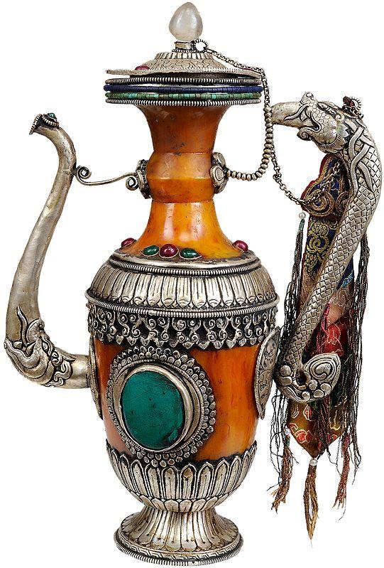 Tibetan Buddhist Amber Dust Ritual Kettle with Dragon Handle