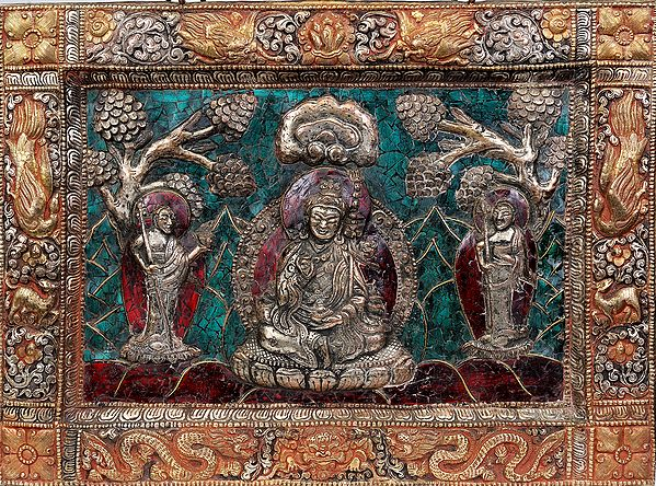 Tibetan Buddhist Deity- Guru Padmasambhava with His Chief  Disciples (Framed with Dragon, Deer and Auspicious Symbols) (Wall Hanging)